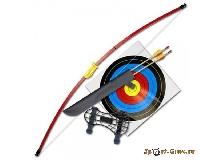 Лук детский классический красный 7кг, 112см (колчан, 2 стрелы, крага, мишень)