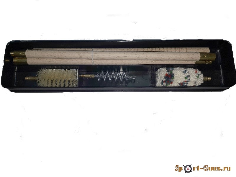 Набор для чистки 12К шомпол деревянный (пластм. футляр)