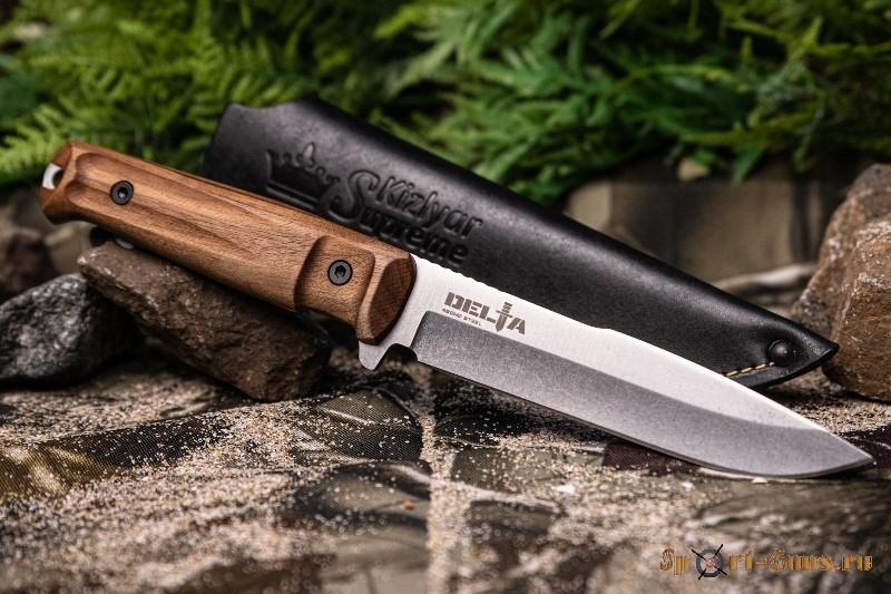 Нож Delta 420НС SW (Stonewash, дерево, кожаный чехол) - фото 2