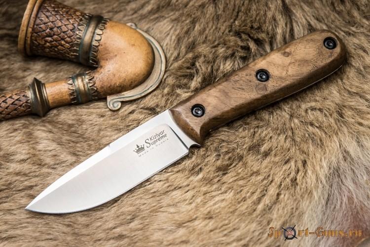 Нож Colada AUS-8 SW (Stonewash, Дерев. рукоять, Кожаный чехол)