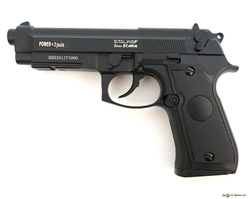 Пистолет пневм. Stalker SCM9P (аналог Beretta M9), к.6ммBB, 12г CO2, пласт.кор