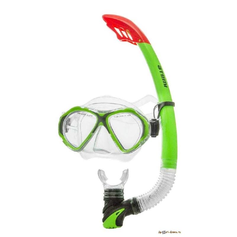 Набор для плавания (маска+трубка) ATEMI, ПВХ, салатовый арт.24111
