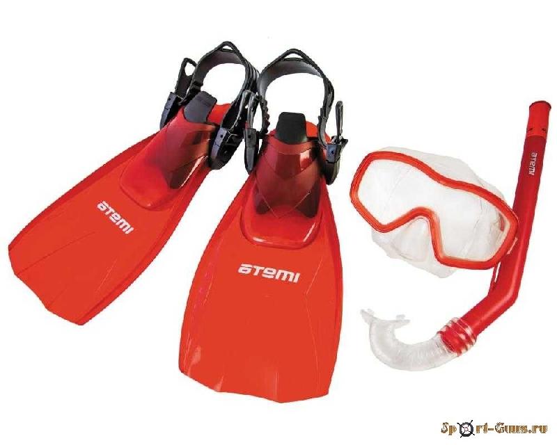 Набор для плавания ATEMI (маска+трубка+ласты) р.28-31 красный арт.24200