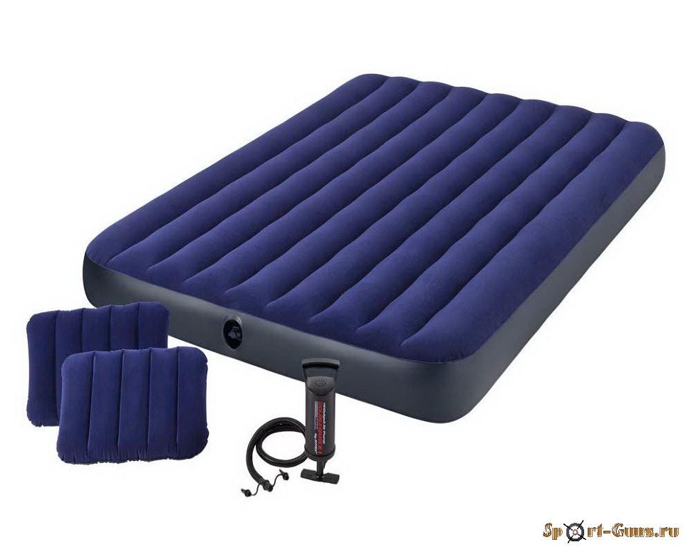 Матрас надувной Classic Downy 152х203х25см (руч насос + две подушки) 64765