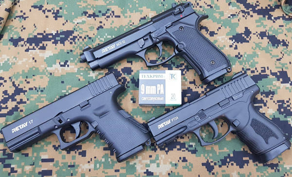 Беретта 92, Таурус и Глок 17 от компании Retay – новинки, стреляющие 9 мм светозвуковыми патронами.